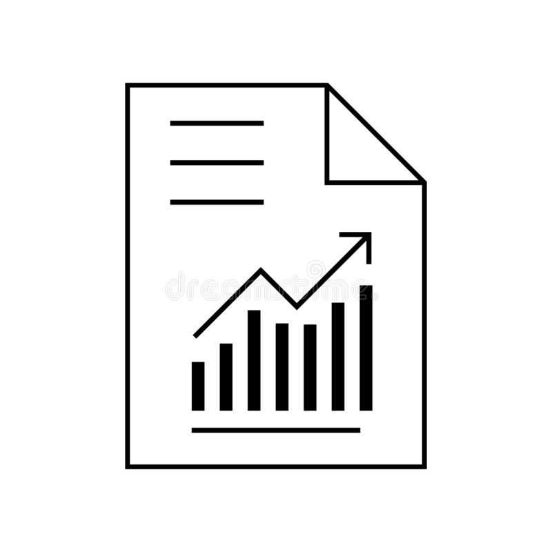 Graphic document or report with chart icon vector. Paper reporting illustration symbol. analysis symbol. For web royalty free illustration