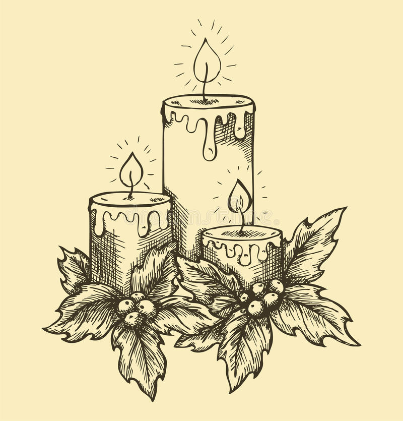 Graphic drawing candles holly berries and leaves. stock illustration