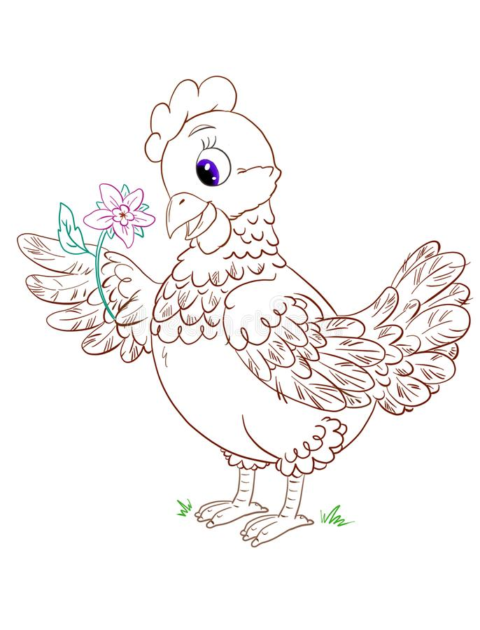 Cute coloring page with cartoon hen with flower on a white background vector illustration