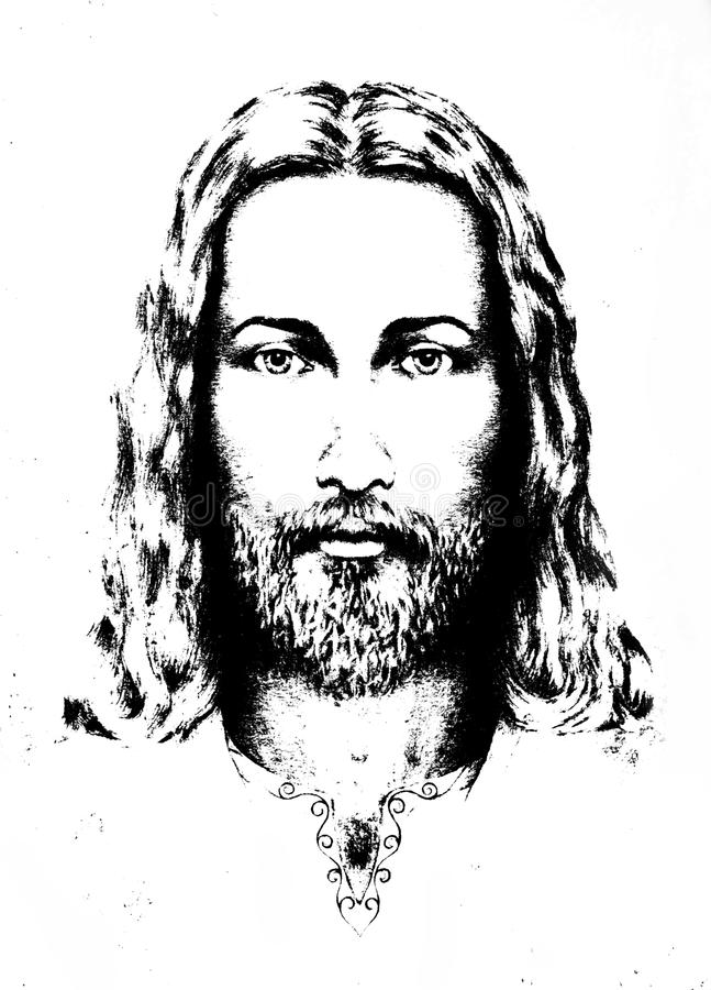Graphic drawing of Jesus, with ornament on clothing. Eye contact. Spiritual concept. stock illustration