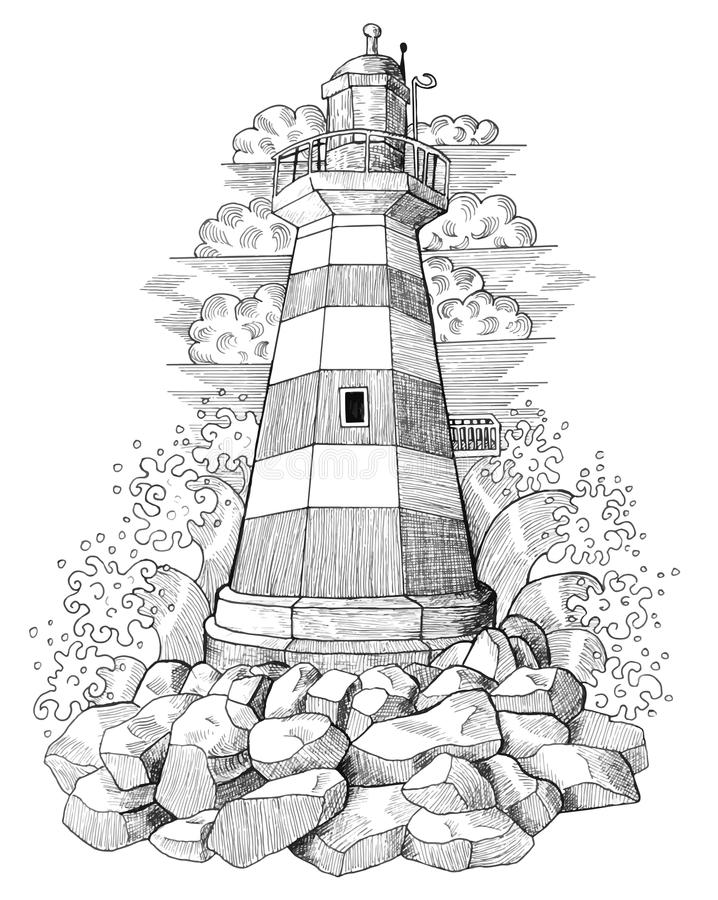 Graphic drawing of light house 4 stock illustration