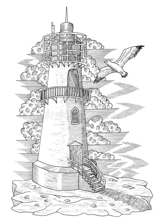 Graphic drawing of light house 1 royalty free illustration