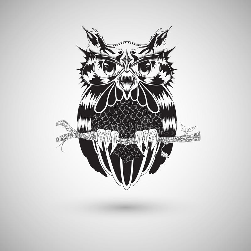 Graphic Drawing Of Owl, Tattoo Design, Vector Illustration Stock ...
