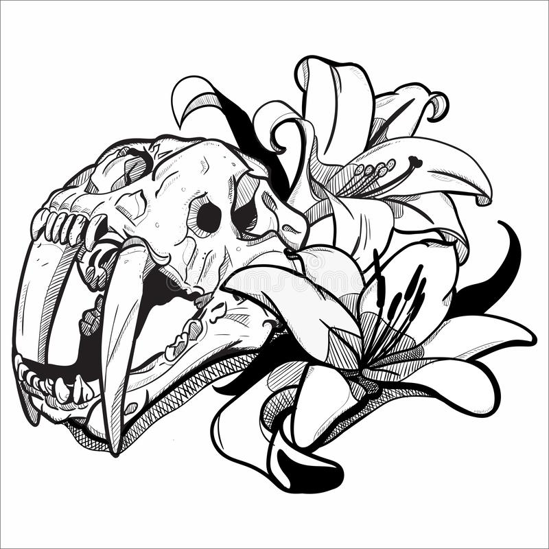 Graphic drawing | Tiger Lily. Graphic drawing using inking style. Unique look could be useful for T-shirt prints, books, canvas and another way to use this vector illustration
