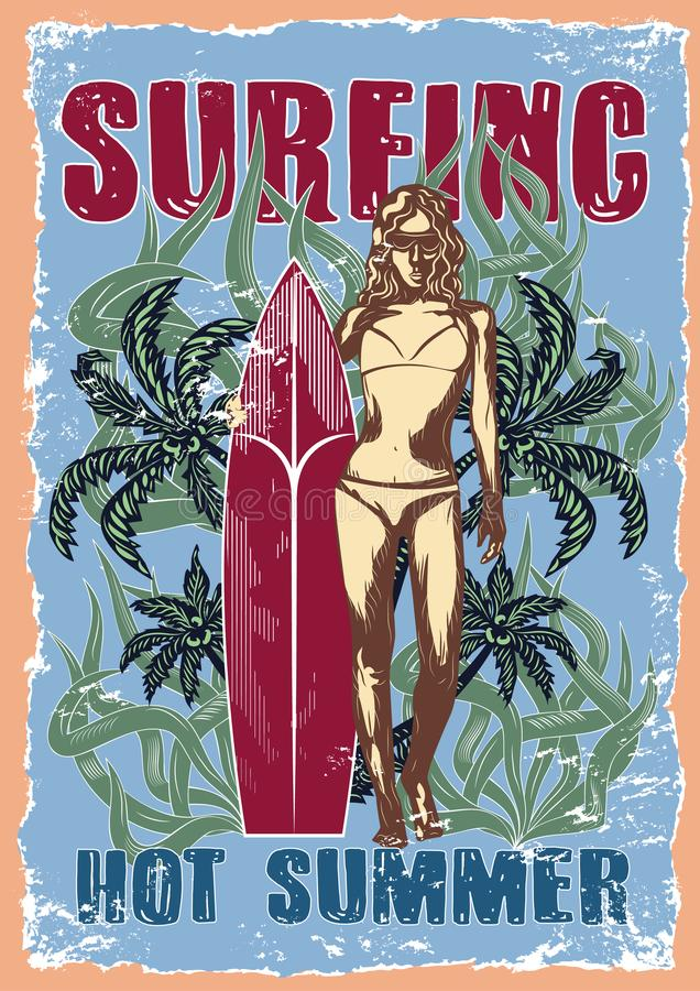 Graphic drawings illustration of surfer royalty free illustration