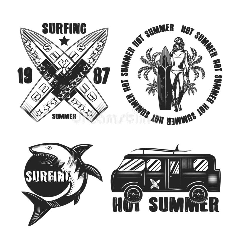 Graphic drawings set of graphic images on the subject of surfing vector illustration