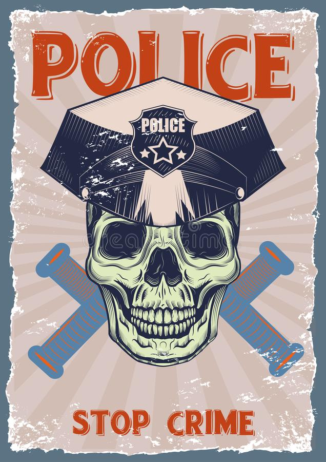 Graphic drawings on the subject of the police stock illustration
