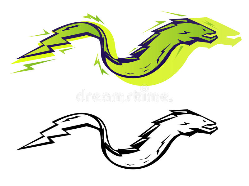 Graphic eel. Stylized vector electric eel in two color treatments vector illustration