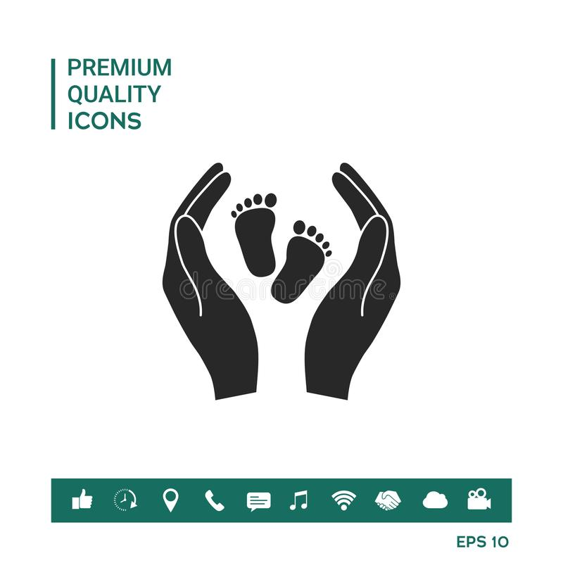 Hands Holding Baby Foot Protection Symbol Stock Vector