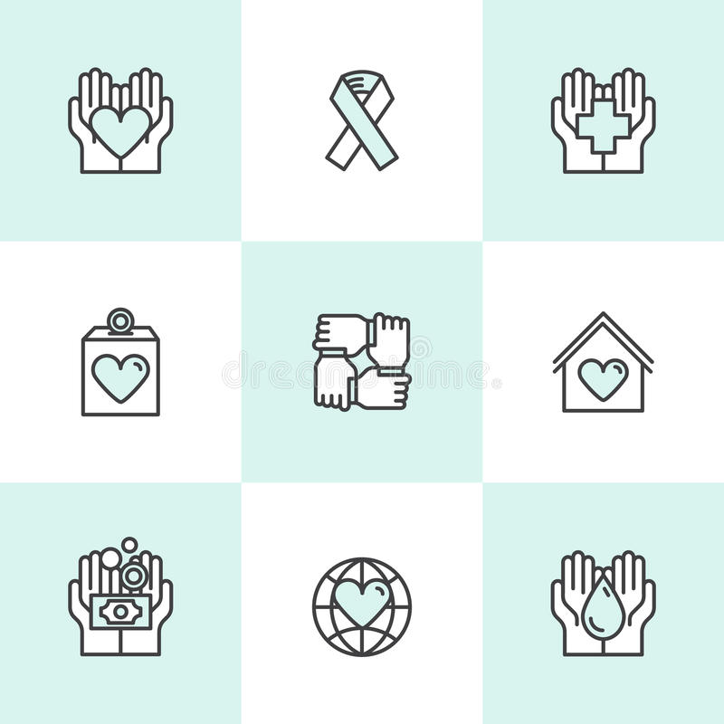 Graphic Elements for Nonprofit Organizations and Donation Centre. Fundraising Symbols, Crowdfunding Project Label, Charity Logo, C. Vector Icon Style royalty free illustration