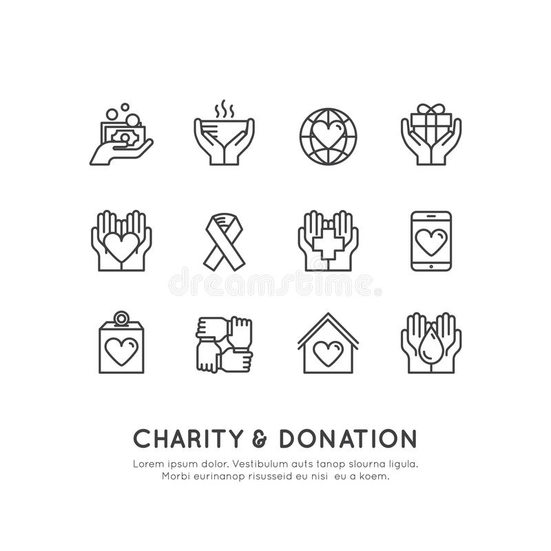 Graphic Elements for Nonprofit Organizations and Donation Centre. Fundraising Symbols, Crowdfunding Project Label, Charity Logo, C stock image