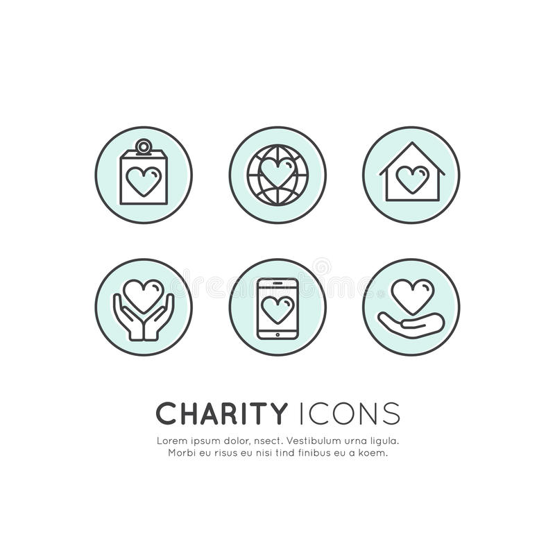 Graphic Elements for Nonprofit Organizations and Donation Centre. Fundraising Symbols, Crowdfunding Project Label royalty free illustration