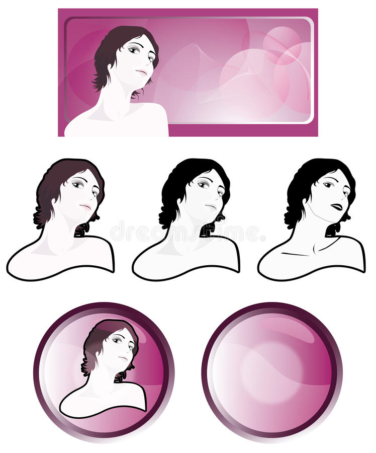 Graphic elements for web designers. Anners, buttons and components for the Web with a beautiful girl vector illustration