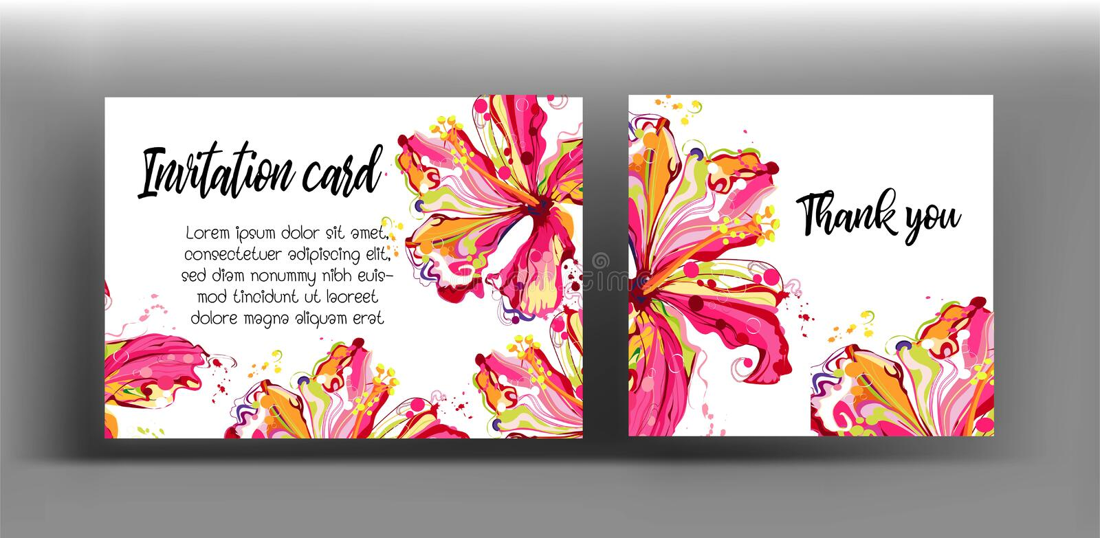 Graphic floral create from hibiscus flower .colorful in abstract stock illustration