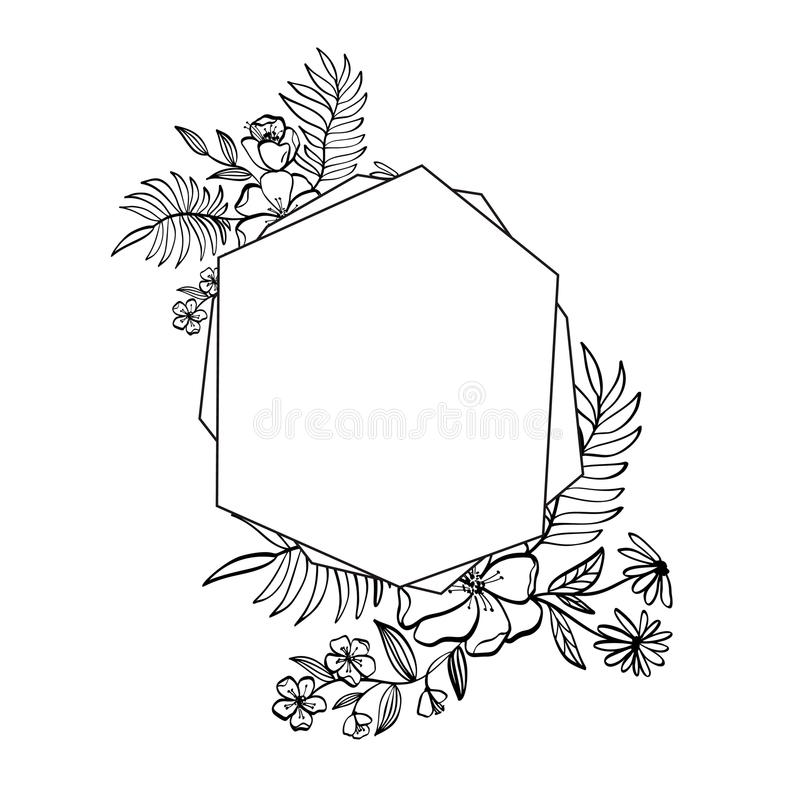 Graphic floral geometry frame. Vector leaves and flowers in cute vignette isolated on black background. Wedding style stock illustration