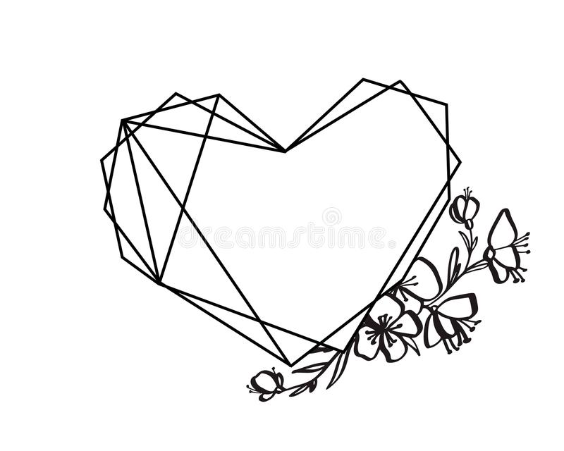 Graphic floral geometry heart frame. Vector leaves and flowers in cute vignette isolated on black background. Wedding royalty free illustration