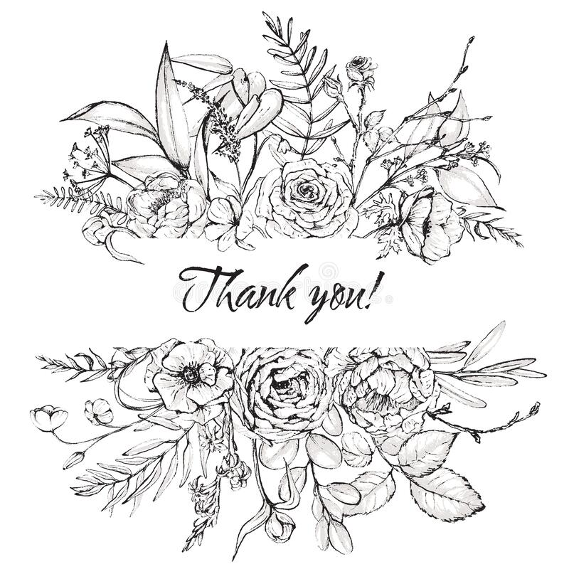 Free Graphic Floral Illustration - Black & White Inked Flowers Border / Frame / Header Royalty Free Stock Photography - 176112777