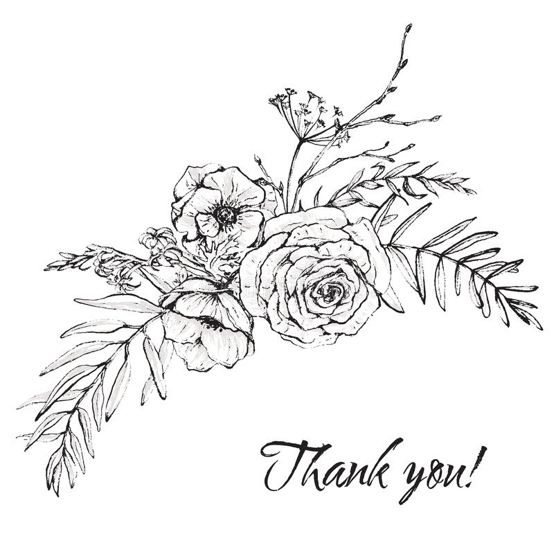 Free Graphic Floral Illustration - Black & White Inked Flowers Bouquet Arrangement Royalty Free Stock Image - 176112776
