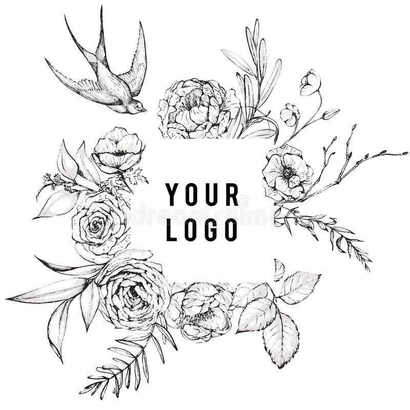 Free Graphic Floral Illustration - Black & White Inked Flowers Frame / Wreath With Swallow Bird Royalty Free Stock Images - 176112829