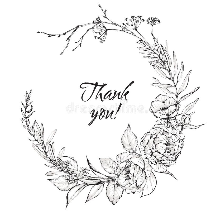 Free Graphic Floral Illustration - Black & White Inked Flowers Wreath Stock Photo - 176112890