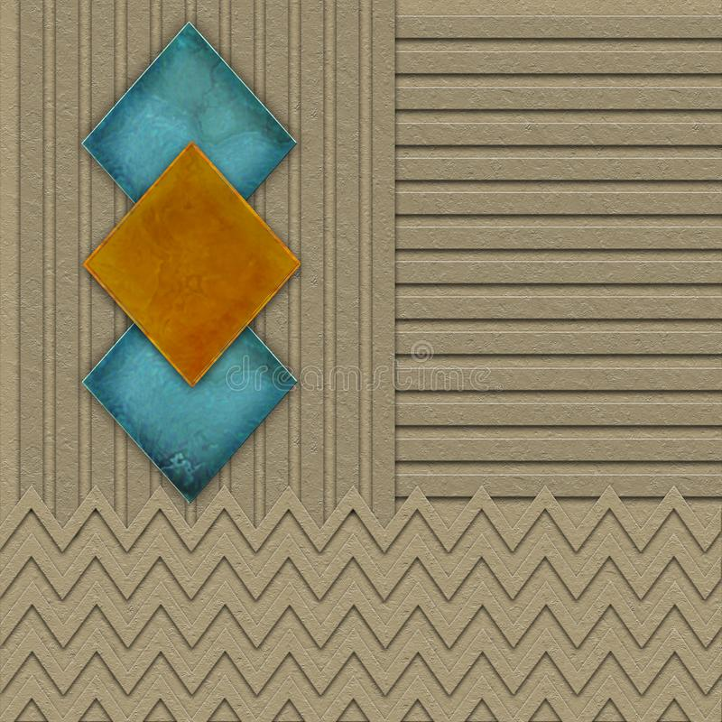 Graphic geometric background with 3D effects and textures and 3 marble like Diamonds in orange and turquoise vector illustration