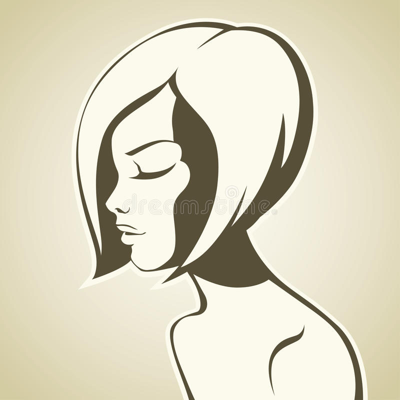 Graphic girl with bob haircut. Vector illustration stock illustration