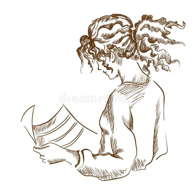 Graphic girl reading a newspaper. stock illustration