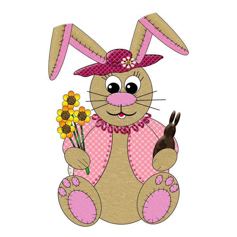 Graphic GirlBunny with Large Floppy Ears holding chocolate bunny and flowers.  Looks like she is home-made with stitches shown. Graphic stuffed bunny toy royalty free illustration