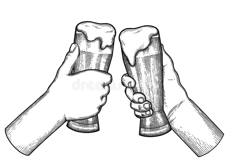graphic hands mugs beer two graphic hands holding pints beer vintage vector illustration isolated white background