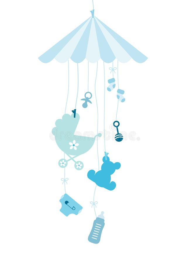 Hanging Mobilé Seven Baby Icons Boy Blue vector illustration