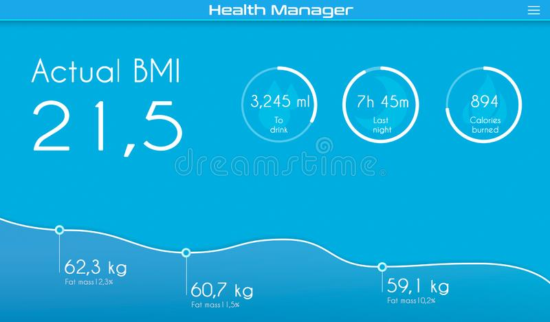 Graphic of Health manager application for computer stock images