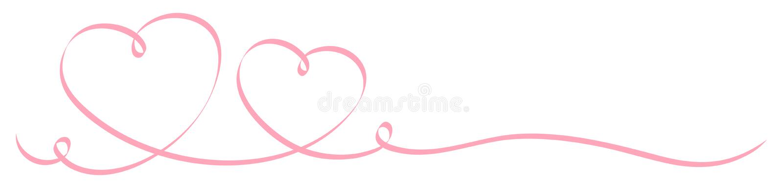 Horizontal Two Pink Calligraphy Hearts Big And Little Ribbon royalty free illustration