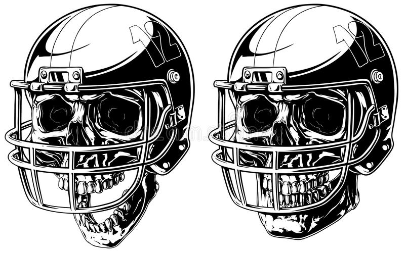 Graphic human skull in american football helmet. Graphic black and white human skull in american football helmet on white background vector set royalty free illustration