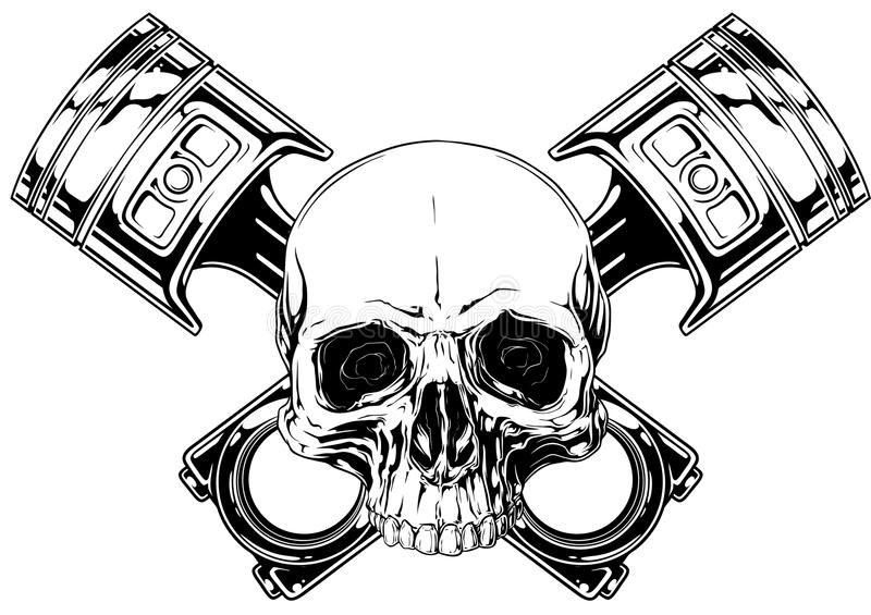 Graphic human skull with crossed car piston vector. Graphic detailed black and white human skull with crossed car pistons on white background vector royalty free illustration