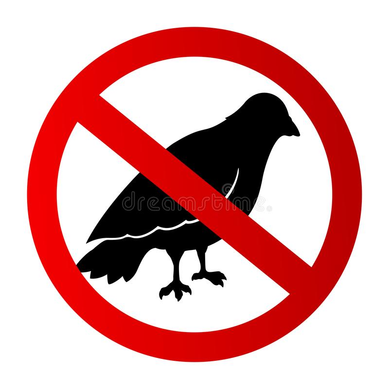 Graphic icon with restricted black bird silhouette. Icon with restricted black bird silhouette on white background stock illustration
