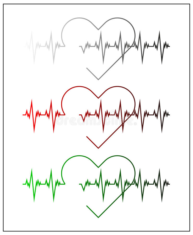 Graphic illustration of cardiogram or cardiograph. Electrocardiogram in black and white, red and green. Heart rate. EKG or ECG. Test. Heartbeat graph. Vector royalty free illustration