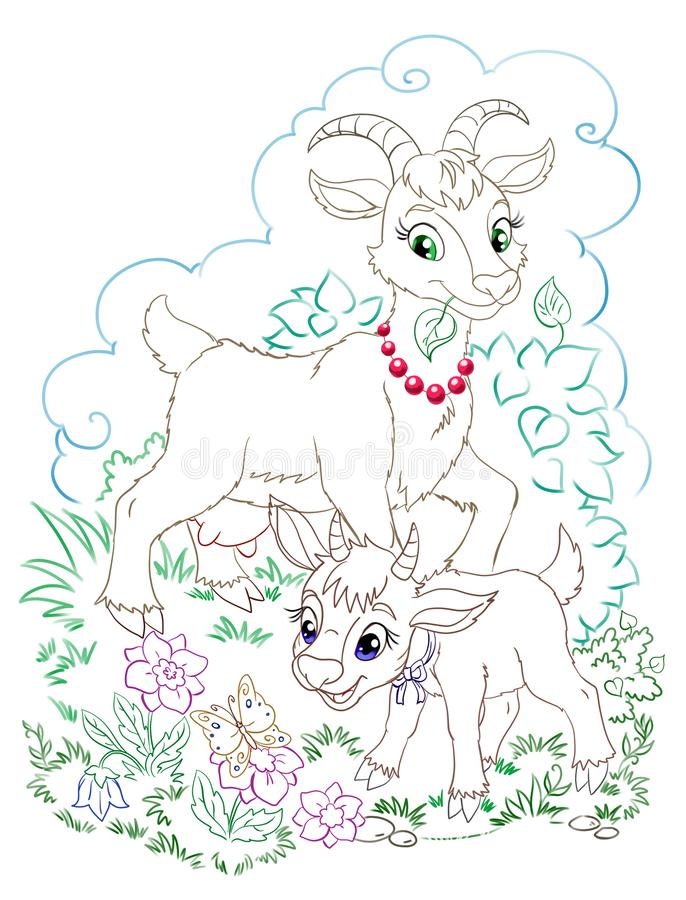 Graphic illustration with mother goat and baby goat in the field stock photos