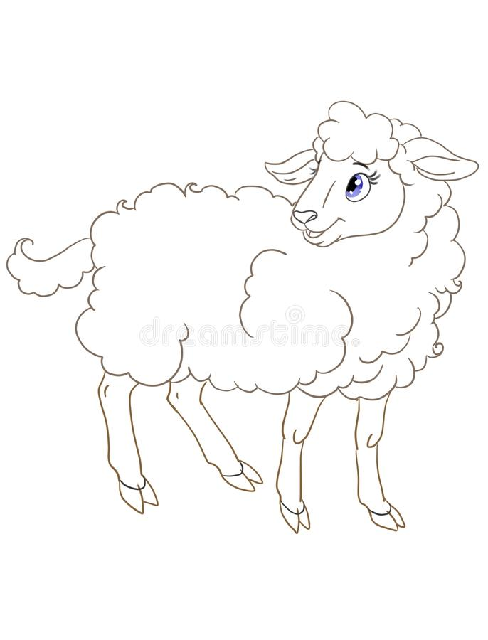 Graphic illustration  for coloring book with a cartoon sheep stock illustration