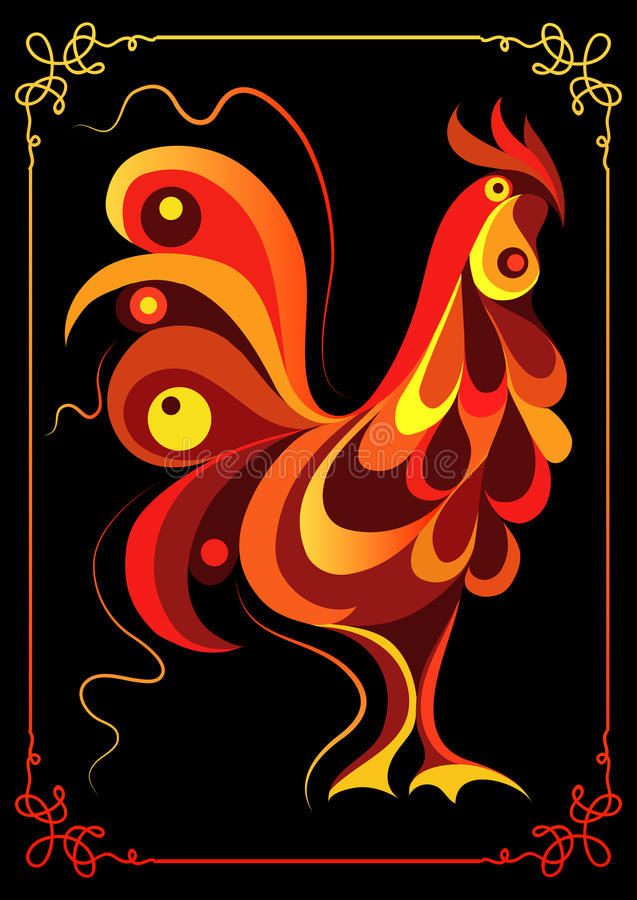 Graphic illustration with a fiery 3. Graphic illustration of fire cock, symbol of 2017. Suitable for invitation, flyer, sticker, poster, banner, card,label royalty free illustration