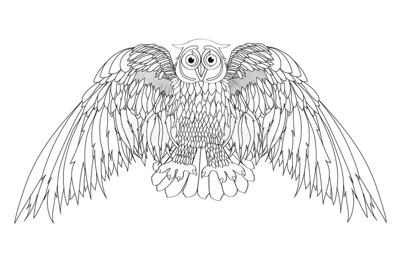 Graphic illustration of flying owl. Vector illustration. Black. And white style. Hand drawn stock illustration