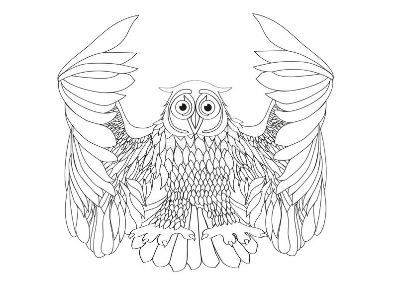 Graphic illustration of flying owl. Vector illustration. Black. And white style. Hand drawn vector illustration