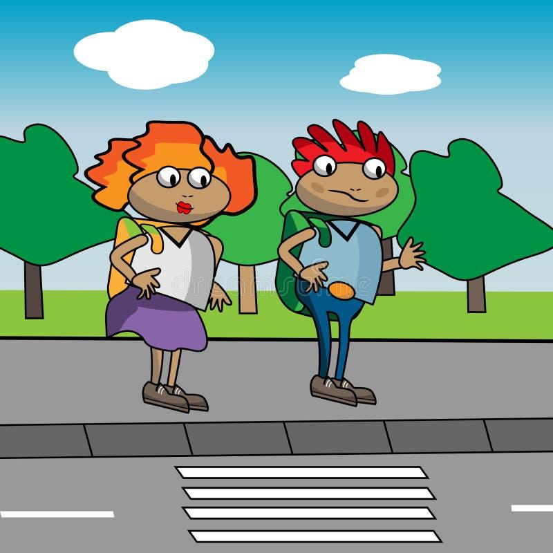 Download Kids In Front Of Pedestrian Crossing Stock Vector - Image: 29839579