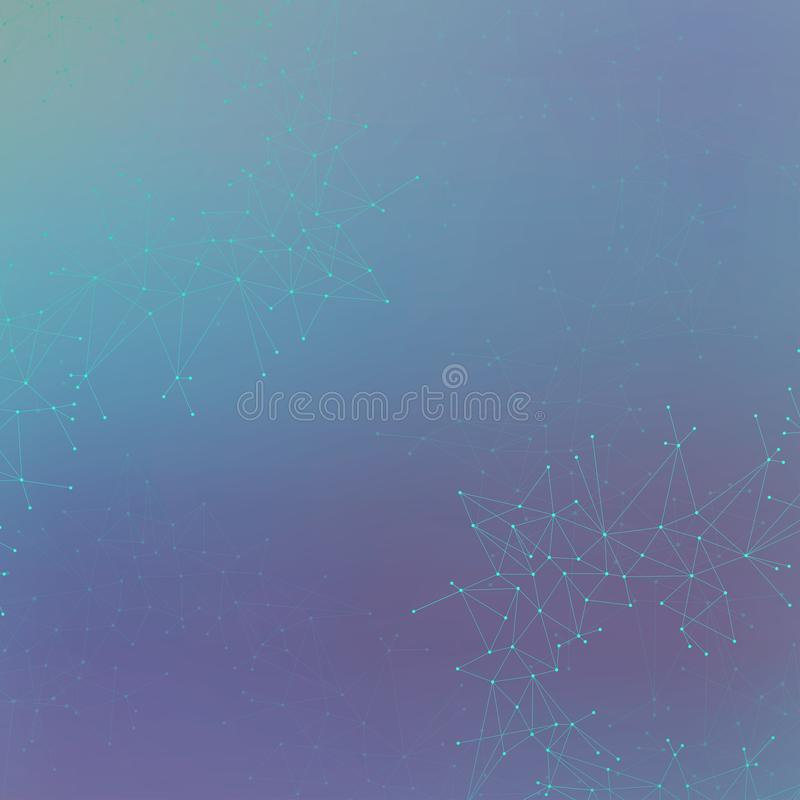 Graphic illustration molecule and communication. Colorful Dots with connections for your design.  royalty free stock image