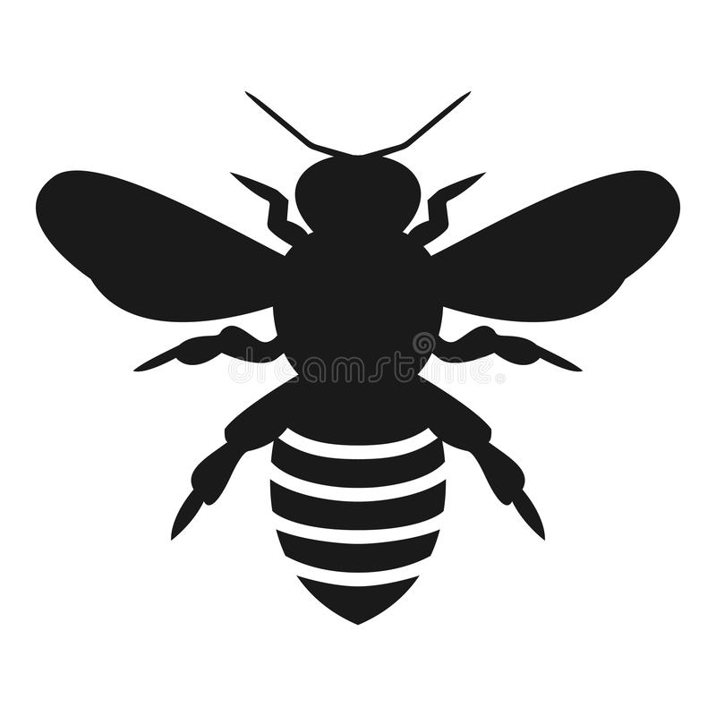 Graphic illustration of silhouette honey bee. Isolated on background vector drawing for honey products, royalty free illustration