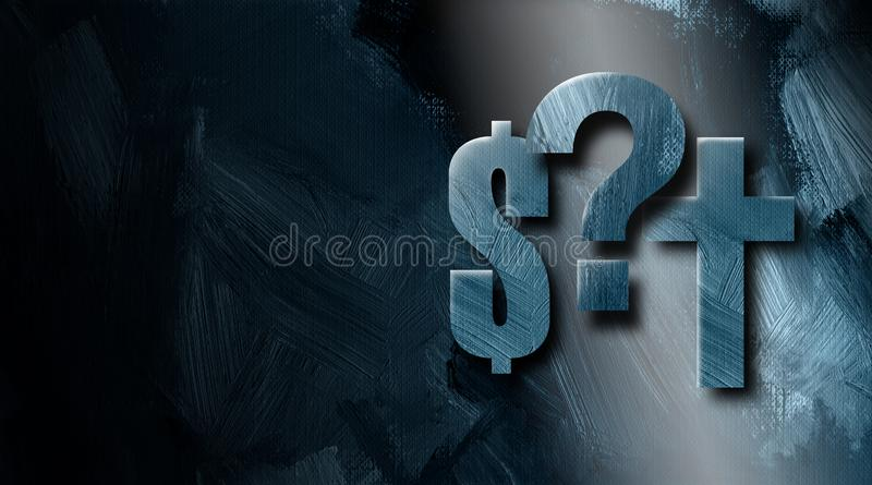 Graphic dollar sign Christian cross and Question mark background stock illustration