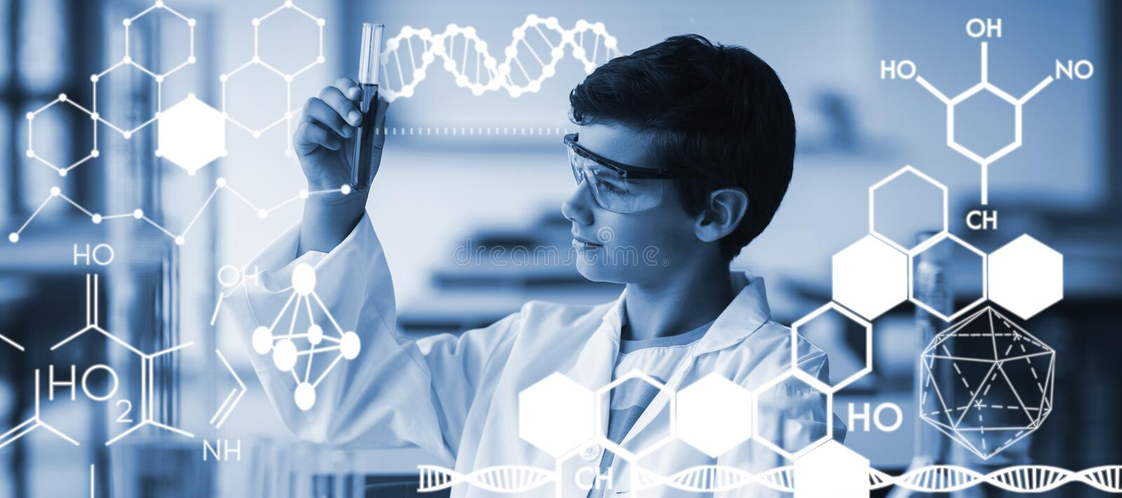 Composite image of graphic image of chemical structure stock illustration