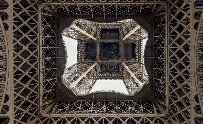 Graphic image of the Eiffel Tower seen from below, Paris, France. Europe stock photography