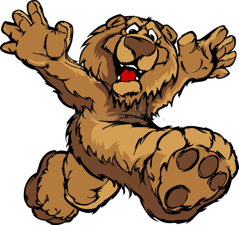 Graphic Image of a Happy Running Bear Mascot vector illustration