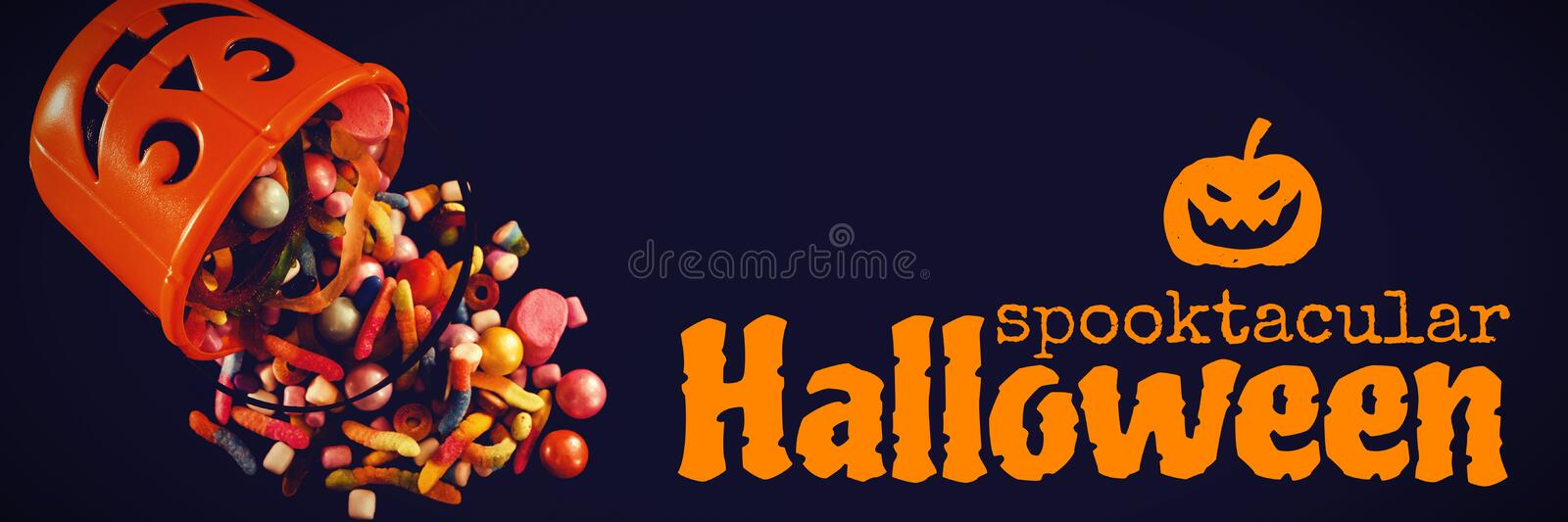 Composite image of graphic image of spooktacular halloween text. Graphic image of spooktacular Halloween text against bucket with various sweet food over black stock images