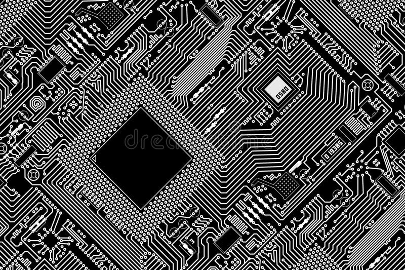 graphic industrial circuit board black background stock photo